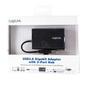 USB 3.0 GIGABIT ETHERNET NETZWERK ADAPTER MIT 3 PORT USB 3.0 HUB Bild 3
