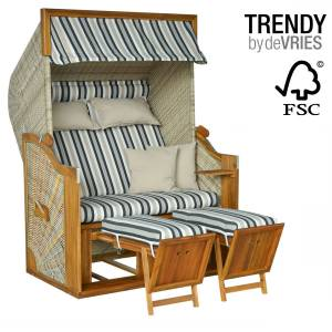 STRANDKORB DEVRIES TRENDY PURE GREENLINE 140 XL - DESSIN 699 - FSC - ANTIQUE WHITE