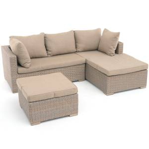 EXOTAN® SIENNA CHAISELONGUE-SET RECHTS (3-TEILIG) SAND GREY