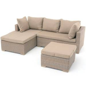 EXOTAN® SIENNA CHAISELONGUE-SET LINKS (3-TEILIG) SAND GREY