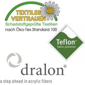 PL98: dralon® / Teflon™ PREMIUM AUFLAGE FÜR BANK 180 x 50 CM CAPPUCCINO Bild 5