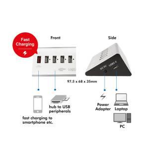 LOGILINK USB 2.0 HUB 4 + 1x SCHNELL-LADE PORT ALUMINIUM GEHÄUSE Bild 5