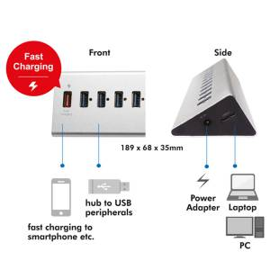 LOGILINK USB 3.0 HUB 10 + 1x SCHNELL-LADE PORT ALUMINIUM GEHÄUSE Bild 6