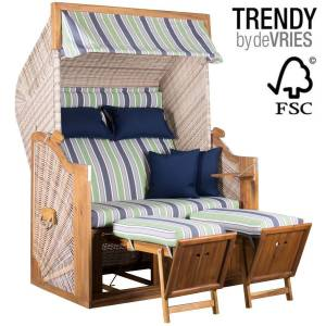STRANDKORB DEVRIES TRENDY PURE GREENLINE 140 XL - DESSIN 713 - FSC - ANTIQUE WHITE