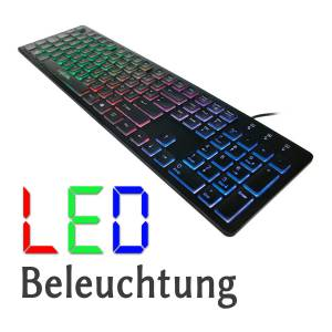 LOGILINK BELEUCHTETE LED TASTATUR USB PLUG & PLAY, WIN10 / MAC / ANDROID