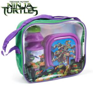 DISNEY - NINJA TURTLES - KINDER PAUSEN-SET PICKNICK-SET 3-TEILIG TRAGETASCHE BROTBOX TRINKFLASCHE