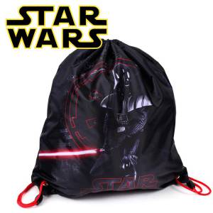 KINDER TURNBEUTEL / SPORTBEUTEL 36x32 cm - STAR WARS COLLECTION - SCHWARZ / ROT