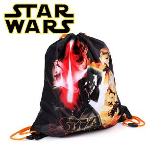 KINDER TURNBEUTEL / SPORTBEUTEL 36x32 cm - STAR WARS COLLECTION - SCHWARZ / ORANGE
