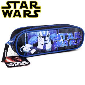 KINDER FEDERTASCHE 23x8x6 cm - STAR WARS COLLECTION - SCHWARZ / BLAU