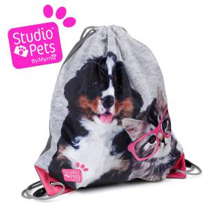 KINDER TURNBEUTEL / SPORTBEUTEL 36x32 cm - STUDIO PETS COLLECTION HUND & KATZE - GRAU / PINK