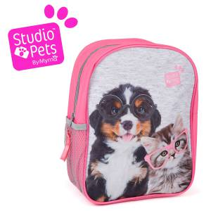 KINDER RUCKSACK 28x22x10 cm - STUDIO PETS COLLECTION - HUND & KATZE - GRAU / PINK