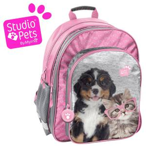 KINDER RUCKSACK 38x29x20 cm - STUDIO PETS COLLECTION - HUND & KATZE - GRAU / PINK
