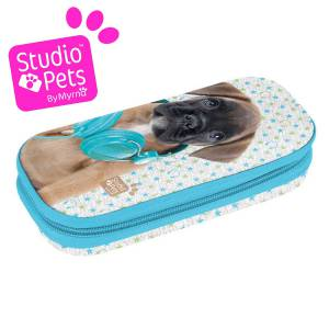 KINDER FEDERTASCHE 19x9x5 cm - STUDIO PETS COLLECTION - MOTIV HUND - GRAU / HELLBLAU