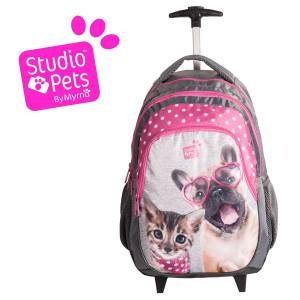 KINDER TROLLEY 45x29x24 cm - STUDIO PETS COLLECTION - HUND & KATZE - GRAU / PINK
