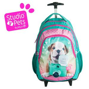 KINDER TROLLEY 45x29x24 cm - STUDIO PETS COLLECTION - HUND - GRÜN / PINK