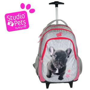 KINDER TROLLEY 45x29x24 cm - STUDIO PETS COLLECTION - BULLDOGGE - GRAU / PINK