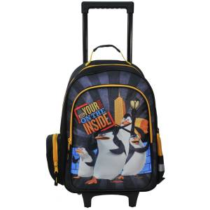 KINDER TROLLEY 49x34x21 cm - DIE PINGUINE AUS MADAGASCAR - SCHWARZ / ORANGE