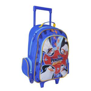 KINDER TROLLEY 49x34x21 cm - DIE PINGUINE AUS MADAGASCAR - BLAU / ORANGE