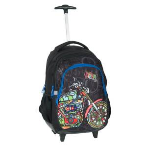KINDER TROLLEY 45x29x24 cm - DREAM BIG - SCHWARZ / BLAU / BUNT