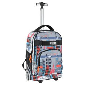 KINDER TROLLEY 51x31x20 cm - BROADWAY - SCHWARZ / GRAU