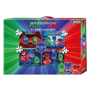 PJ MASKS - 4 in 1 PUZZLE-SET 20 + 24 + 36 + 48 TEILE IN GESCHENKEBOX