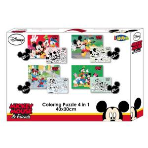 MICKY MAUS & FRIENDS - 4 in 1 PUZZLE-SET 20 + 24 + 36 + 48 TEILE IN GESCHENKEBOX