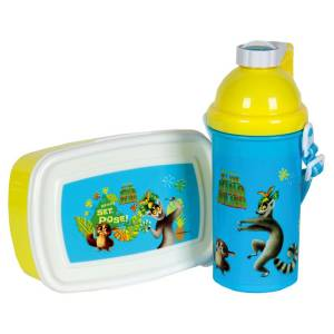 KING JULIEN - KINDER PAUSEN-SET PICKNICK-SET 2-TEILIG - BROTBOX TRINKFLASCHE