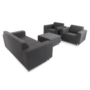 TOM LOUNGE SET BANK 2-SITZER + HOCKER + 2x SESSEL - CARBON ANTHRAZIT
