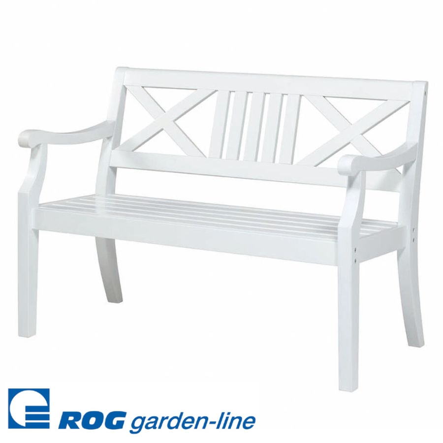 roggemann wl1050 gartenbank bank 2 sitzer 123 cm weiss wei holzbank vivagardea ebay. Black Bedroom Furniture Sets. Home Design Ideas