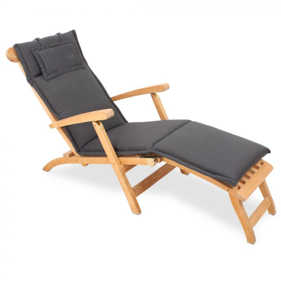 rog gardenline auflage f r liegestuhl deckchair anthrazit mit reissverschluss ebay. Black Bedroom Furniture Sets. Home Design Ideas