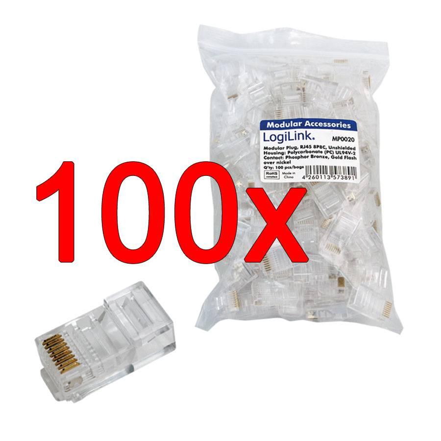 100 netzwerkkabelstecker rj45 fÜr flachkabel netzwerk kabel stecker