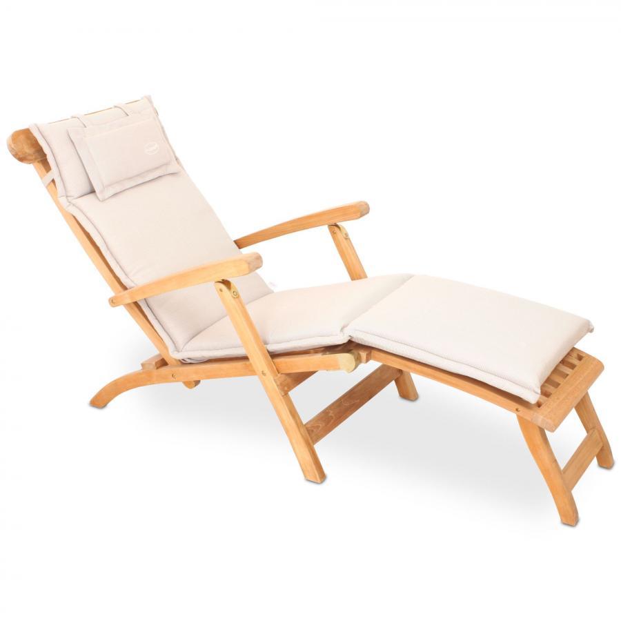polster auflage f r liege deckchair natur creme beige reissverschluss waschbar. Black Bedroom Furniture Sets. Home Design Ideas