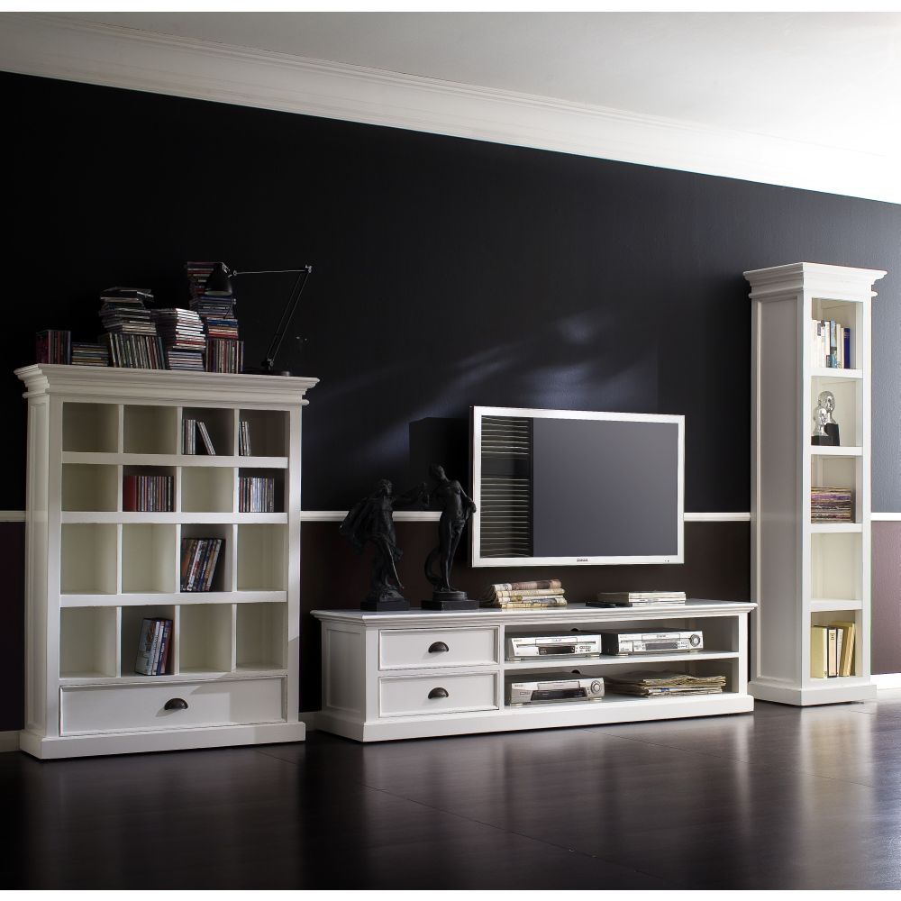 novasolo halifax ca592 180 tv schrank lowboard weiss 180 cm massiv shabby look ebay. Black Bedroom Furniture Sets. Home Design Ideas