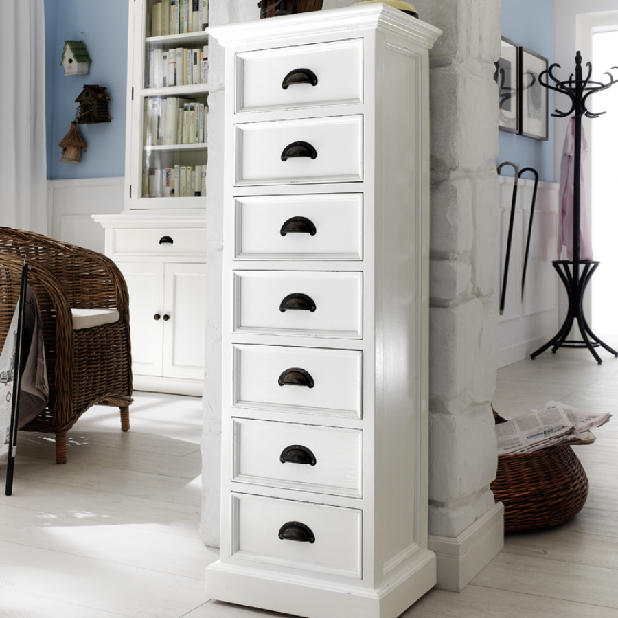 novasolo halifax kommode mit 7 schubladen weiss landhaus massivholz ebay. Black Bedroom Furniture Sets. Home Design Ideas