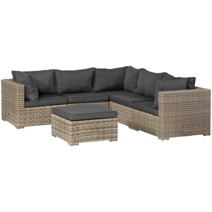 exotan rimini lounge sitzgruppe 6 teilig natur grau polyrattan sofa outdoor ebay. Black Bedroom Furniture Sets. Home Design Ideas