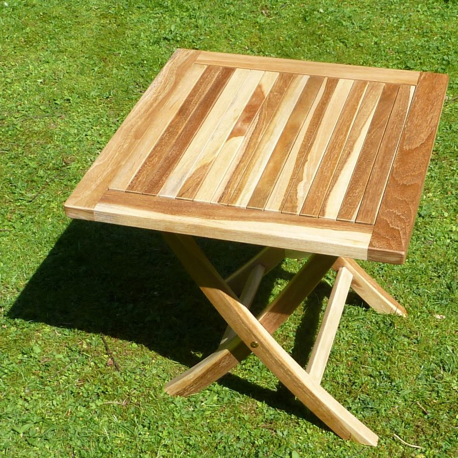 kleiner teaktisch 50 x 50cm beistelltisch holztisch klein eco teak holz plo ebay. Black Bedroom Furniture Sets. Home Design Ideas