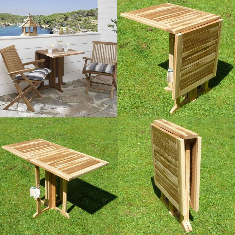 klappbarer balkon tisch aus teak holz balkontisch klappbar teaktisch 120 x 60cm ebay. Black Bedroom Furniture Sets. Home Design Ideas