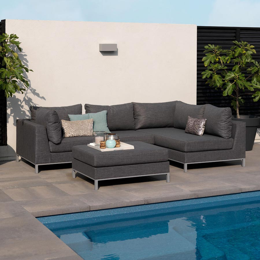 EXOTAN ® CASABLANCA LOUNGE HOCKER TISCH - GRAU OUTDOOR ...