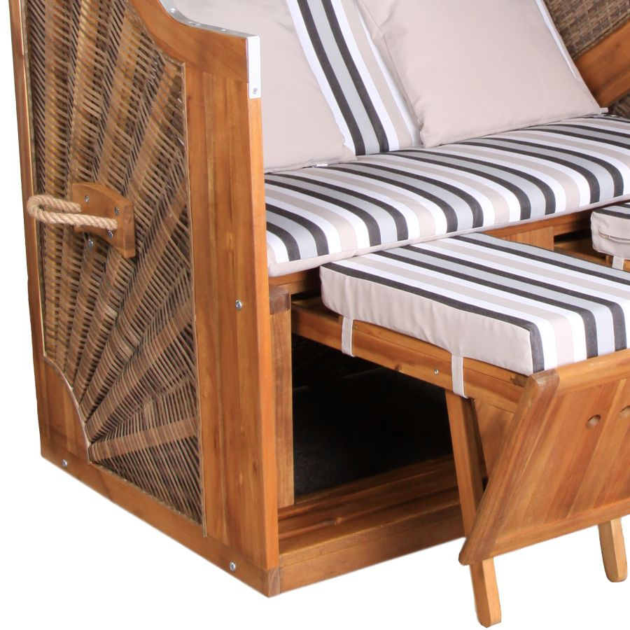 strandkorb devries trendy pure greenline 120 gestreift inkl kissen versand ebay. Black Bedroom Furniture Sets. Home Design Ideas