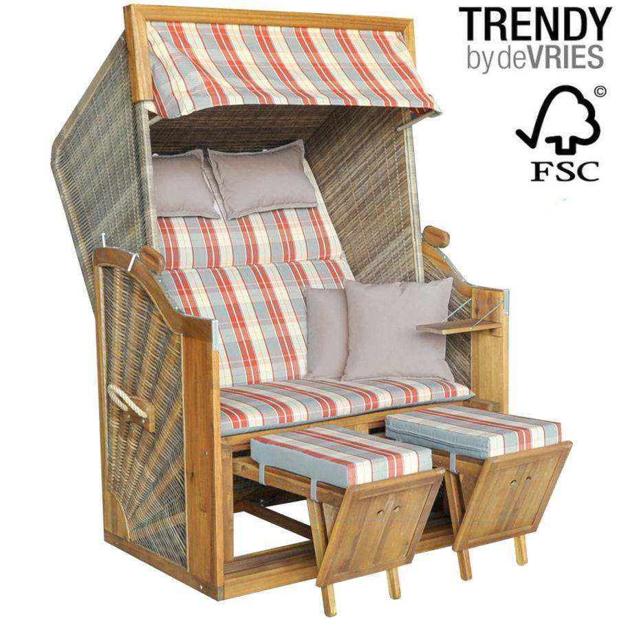 strandkorb devries trendy pure 120 dessin 604 innen aussen geflecht fsc holz ebay. Black Bedroom Furniture Sets. Home Design Ideas