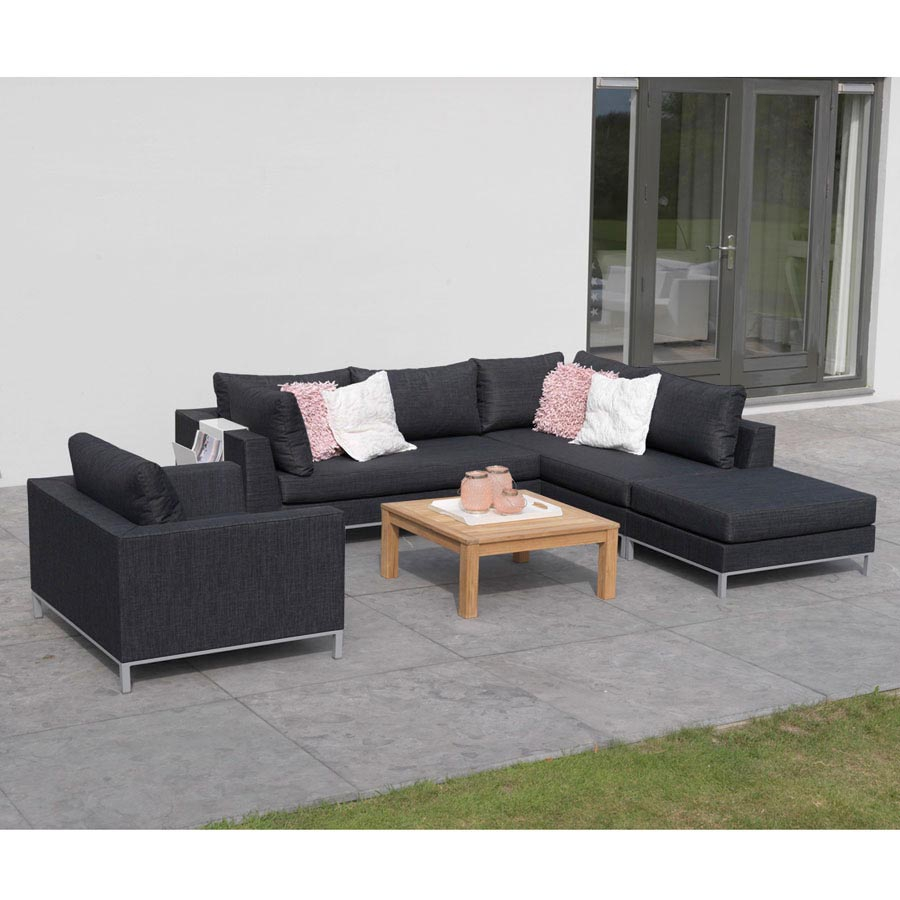 loungesessel garten terrasse loungem bel sessel wetterfest schwarz texfabric ebay. Black Bedroom Furniture Sets. Home Design Ideas