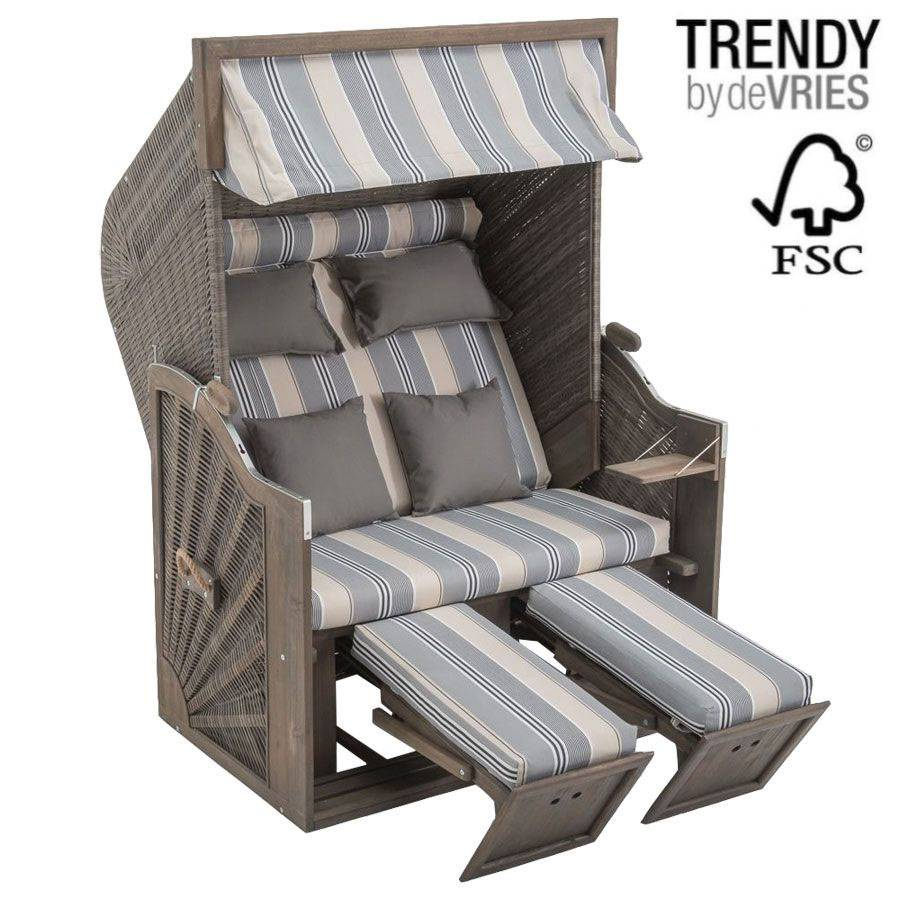 strandkorb devries trendy pure greenline 140 xl dessin 663 fsc zertifiziert grey. Black Bedroom Furniture Sets. Home Design Ideas