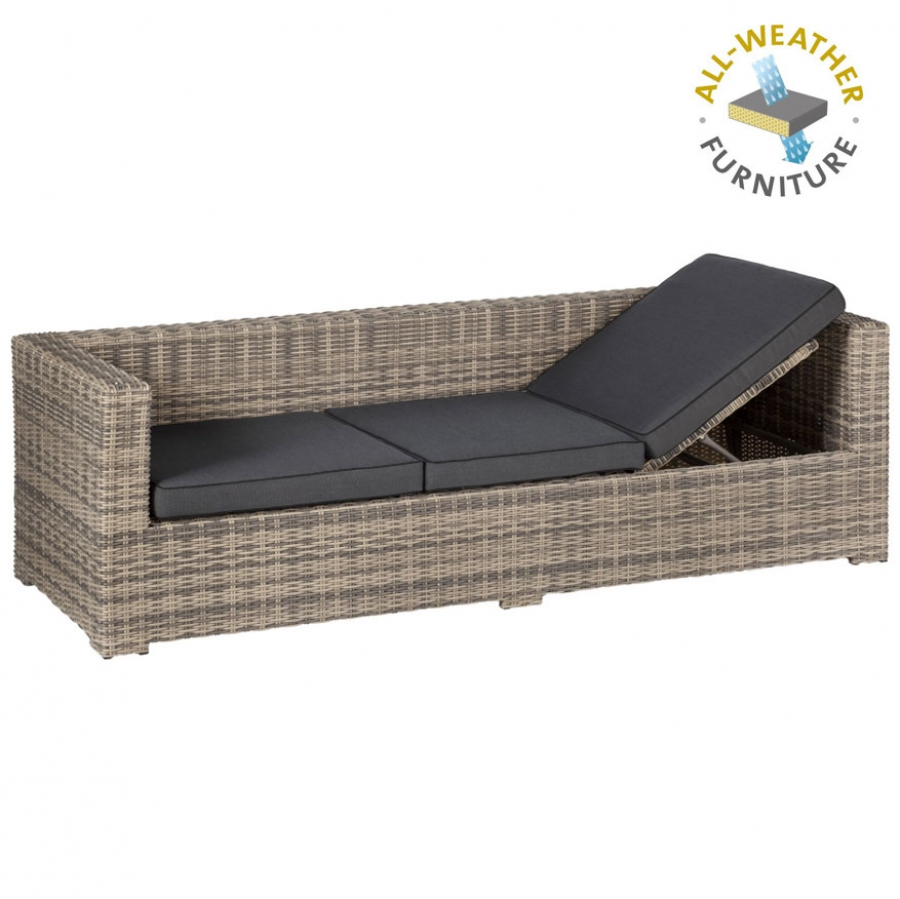 exotan rimini loungeliege geflecht polster wetterfest gartensofa natur grau ebay. Black Bedroom Furniture Sets. Home Design Ideas