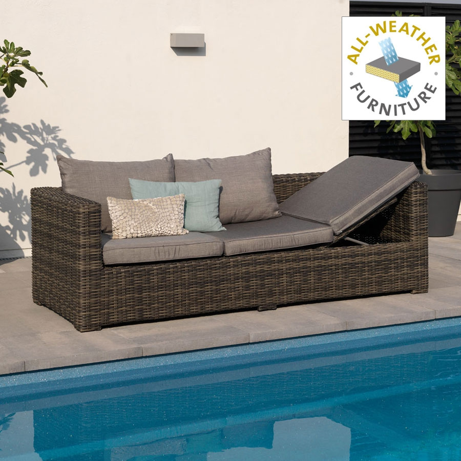 outdoor geflecht loungem bel 3er bank gartenliege vivagardea san remo san12 ebay. Black Bedroom Furniture Sets. Home Design Ideas