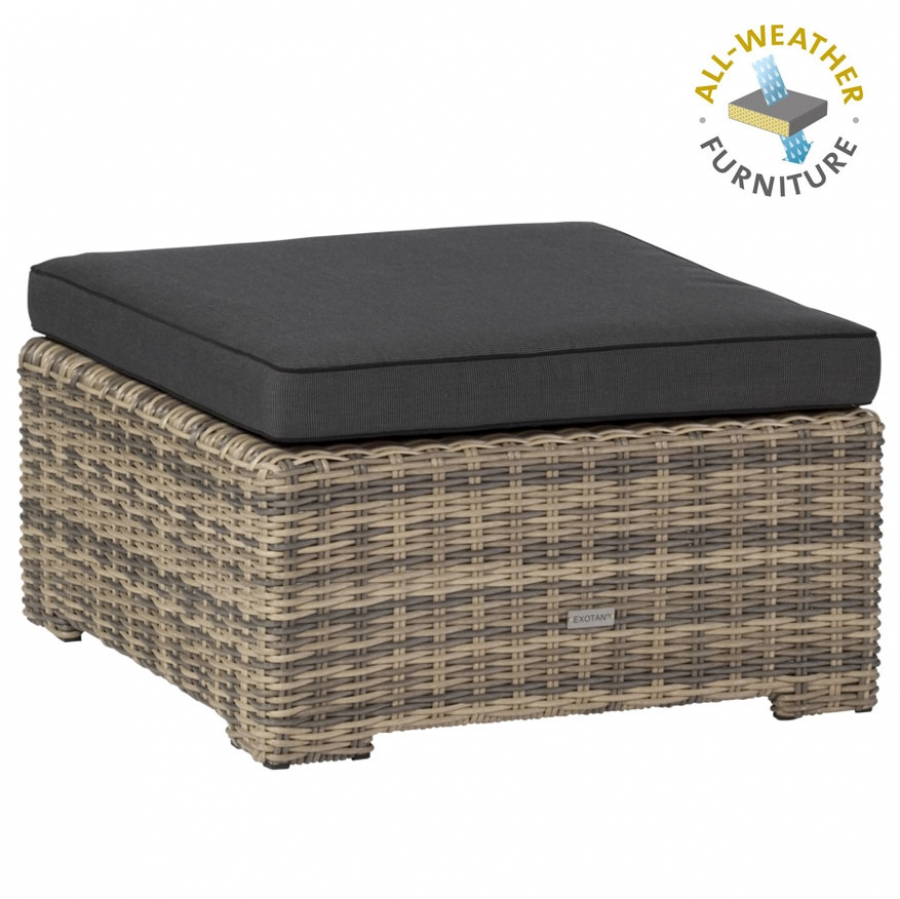 EXOTAN® RIMINI LOUNGE HOCKER / TISCH - NATUR GRAU - ALL WEATHER