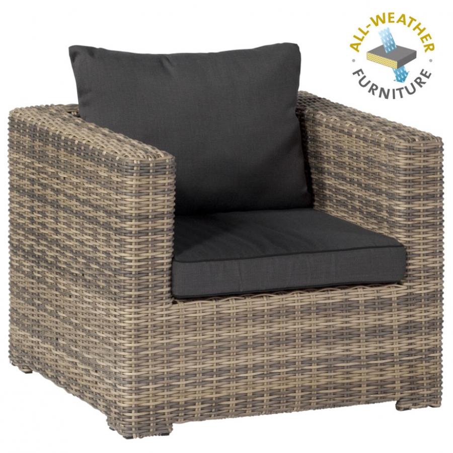 exotan rimini loungesessel geflecht natur polster dunkelgrau wetterfest garten. Black Bedroom Furniture Sets. Home Design Ideas