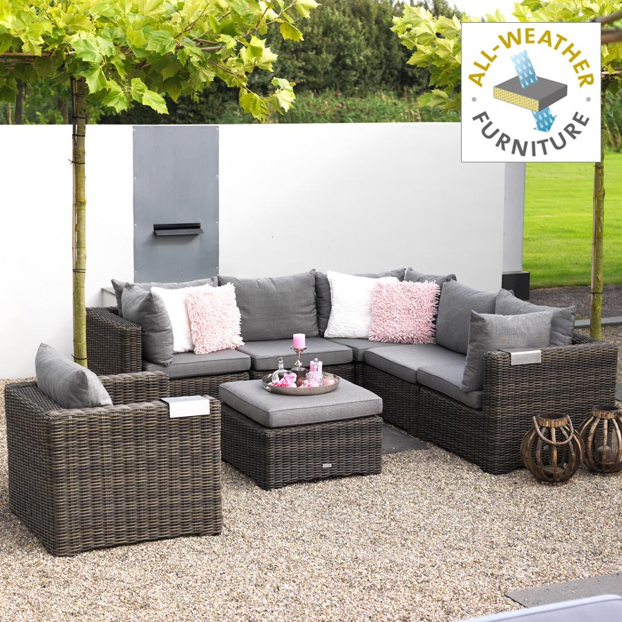 exotan rimini geflecht lounge sessel dunkelgrau braun all weather garten ebay. Black Bedroom Furniture Sets. Home Design Ideas