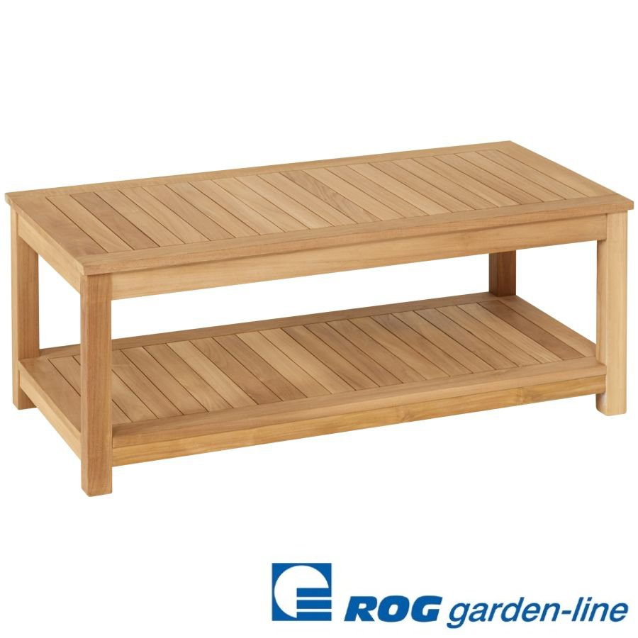 holztisch mit ablage 120 x 60 x 45 5 cm f r garten terrasse teak vivagardea ebay. Black Bedroom Furniture Sets. Home Design Ideas