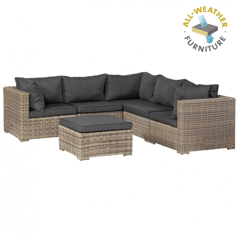 wetterfestes loungesofa sitzecke geflecht polster kissen. Black Bedroom Furniture Sets. Home Design Ideas