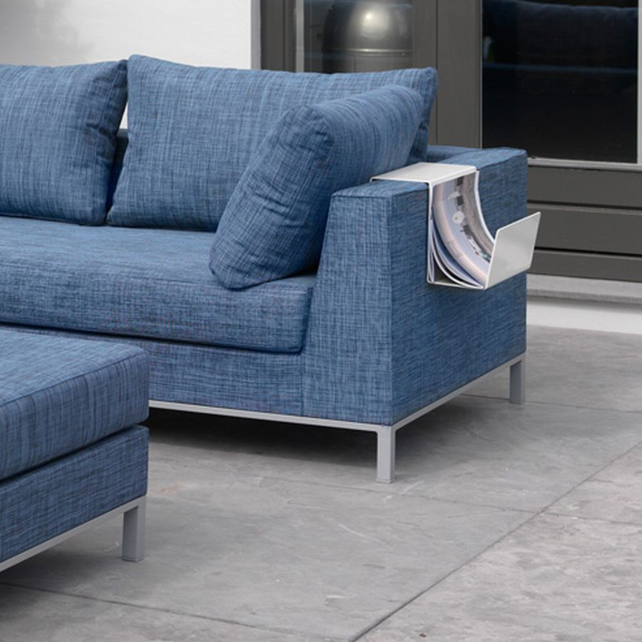 zeitschriftenhalter f r exotan loungem bel aluminium weiss. Black Bedroom Furniture Sets. Home Design Ideas